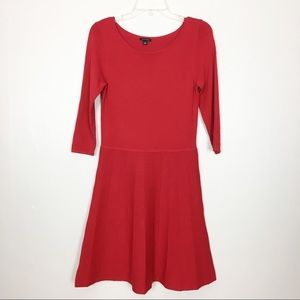 Ann Taylor Red 3/4 Sleeve A-Line Dress Size Small